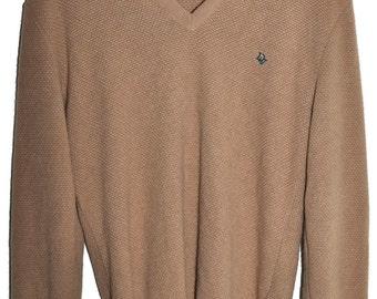 Vintage CHRISTIAN DIOR V Neck Sweater Beige Butter Soft Orlon Mens M L Boyfriend Fit