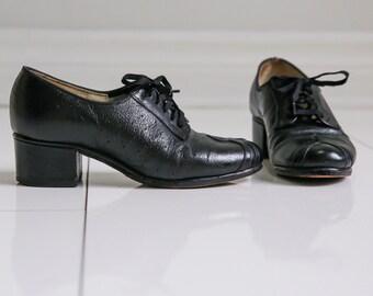 Black Leather 1940s Oxfords - Sz 5