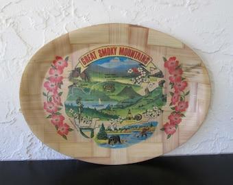 Great Smoky Mountains Carris Novelty Bamboo Souvenir Serving Tray