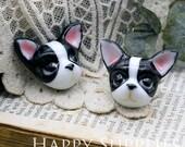 30% off - 1pcs Handmade Bulldog Portrait Ceramic Pendant (PC003) - [Designer Series]