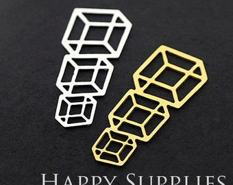 Exclusive -20% off 24K Golden / 925 Silver Geometry Charm / Pendant, Fit For Necklace, Earring, Brooch (GD280/SD280)
