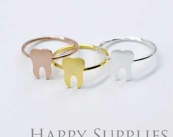 2Pcs Nickel Free - High Quality Rose Gold/Silver/Golden Brass Teeth Ring (RB007)