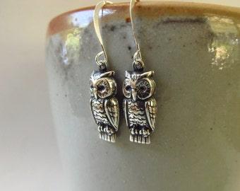 Hoot - Owl Earrings in Silver