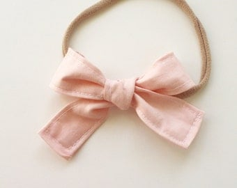 Petite Peanut Bitty Bow Headband - Blush Pink - Baby Girl Toddler - (Made to Order) -Spring Summer Wedding