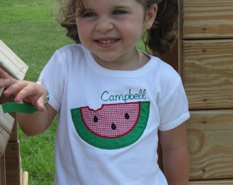 Personalized Watermelon Shirt Red Gingham 4th of July