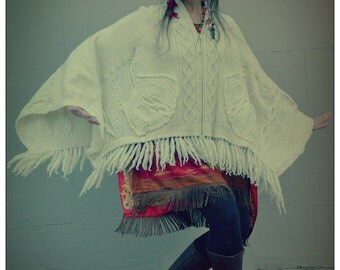 Ivory Cream Upcycled Recycled Arran Fringed Cape Poncho            ReMade in England UK