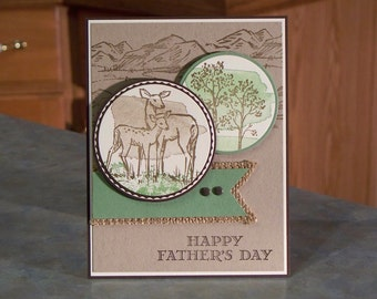 "Handmade Father's Day Card - 5.5"" x 4.25"" - Stampin Up In the Meadow - Nature Themed - Hand Stamped Mountains, Deer & Trees"