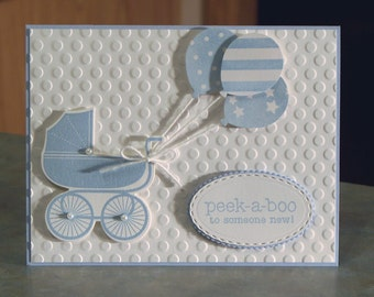 "Handmade Boy Card - Stampin Up Something for Baby - Peek-a-Boo to Someone New! - 5.5"" x 4.25"" - Carriage & Balloons"
