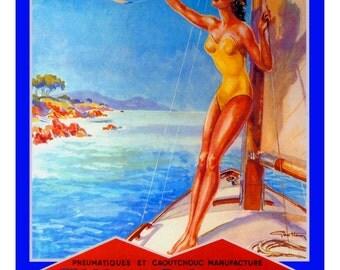vintage mid century french advertisement pinup beach airplane illustration digital download