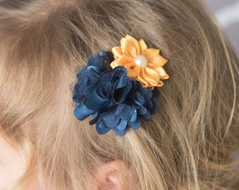 navy hair clip, yellow hair clip, navy flower clip, toddler hair clip, girl hair accessories, baby shower gift, piggy tail, wedding hair