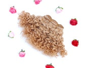 Wefted mohair goat hair honey blonde for waldorf, Blythe natural Wool Doll Hair, Blythe Doll Reroots, tress, fabric dolls, combed locks