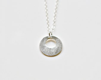 Sterling silver disk necklace - round silver pendant - tiny silver charm - brushed donut delicate necklace - simple everyday jewelry - Devi