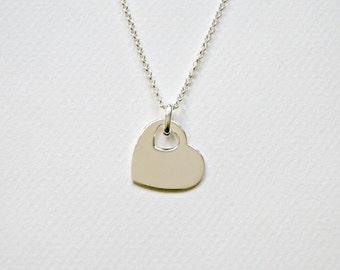Heart necklace, 925 sterling silver, bridesmaid, large silver heart pendant, double heart charm, designer style jewelry, classic, Chiasson