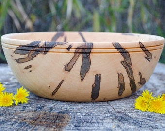 "Wood Bowl,  Maple ""Circle of Life"" wedding bowl, salad bowl, centerpiece hand turned with bark inclusion"