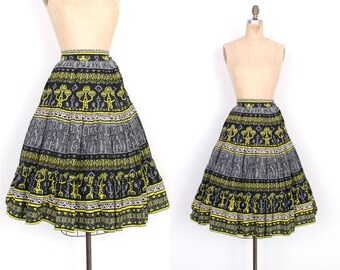 Vintage 1950s Skirt / 50s Novelty Print Cotton Skirt / Black Yellow Gray (XS extra small)