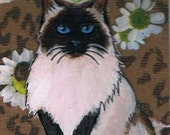 Ragdoll Cat, Original, Mixed Media ACEO, Collage, One of a Kind, Miniature Art, Longhair Siamese Cat