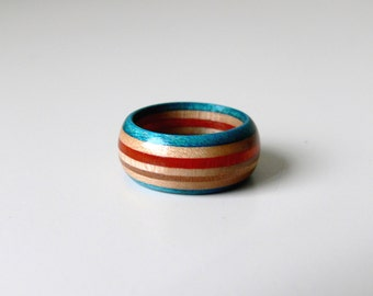 Handmade Recycled Skateboard Wood Ring - Size 8
