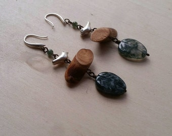 Moss Agate Leaf Drop Earrings with Silver Sparrows & Mini Log beads