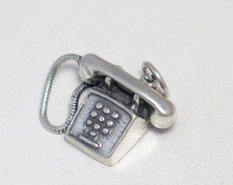 Sterling silver 2-D traditional old school 70's 80's touch tone phone chatty Cathy communications theme bracelet charm / necklace pendant
