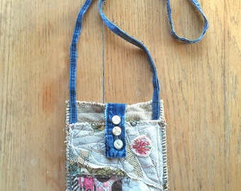 Handmade Crossbody Artsy Bag, Upcycled, Collaged Textiles, Wearable Art