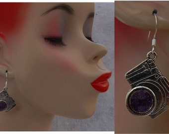 Silver Camera Charm Drop/Dangle Earrings Handmade Jewelry Hook NEW Fashion Accessories Purple