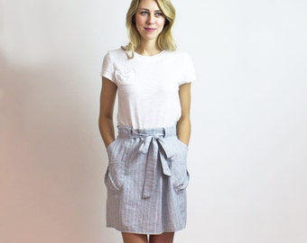 RuLa Stripe Hemp Mock Wrap skirt / Organic Cotton & Hemp Blue Stripe adjustable skirt / Eco friendly fashion