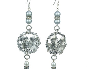 Silver Leaf & Pearl Earrings   E4716