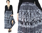 Vintage Indian Cotton Gauze Skirt Gypsy Hippie Boho Maxi Skirt Plus Size Broomstick Skirt Crinkle Printed Folk Drawstring Waist Skirt (XL)