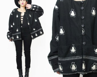 50% OFF SALE Penguin Jacket Reversible Winter Coat Novelty Print Warm Fleece Jacket Black Cotton Womens Cropped Jacket Arctic (L) E493