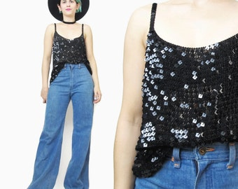 1990s Black Sequin Tank Top Vintage Mesh Crochet Knitted Top Sequin Tank Womens Party Top Straps Chainmaille Sequined Sparkle Top (S/M/L)