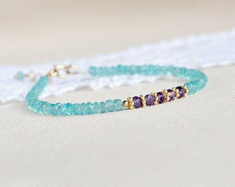 Genuine apatite and amethyst bracelet, gold filled apatite bracelet, purple blue bracelet, gift for her