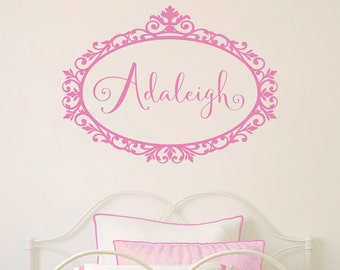 Personalized Girl Name Decal - Scroll Frame Decal - Personalized Wall Decal - Script Font Girl Bedroom Wall Sticker - Wall Decal for Girls