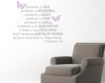 Philippians 4:8 Decal - Whatever is true - Christian Wall Decor - Bible Verse Decal - Medium