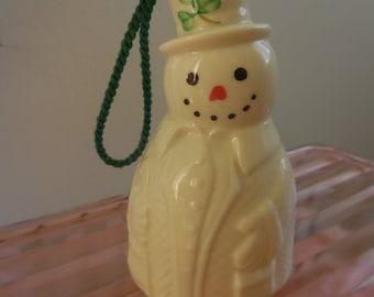 Belleek Ireland Snowman Bell Ornament