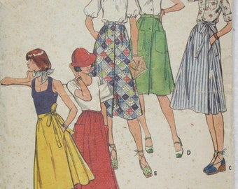 """Waist 25""""  Butterick  Sewing Pattern 4255 Wrap Skirt  and A-Line Skirt Front Button or Gathered Waist 70s Easy Pattern"""