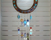 HorseShoe Sun Catcher Large 5 Strings of Beads and  Crystals  Gem Stones  Good Luck  House Gift Garden Art