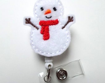 Snowman with red scarf - Retractable ID Felt Badge Holder - Holiday Badge Reel - RN Gift - Nurses Badge Holder - Nurse Badge - Teacher Badge