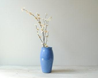 Vintage Vase, Blue Pottery Vase, Flower Vase