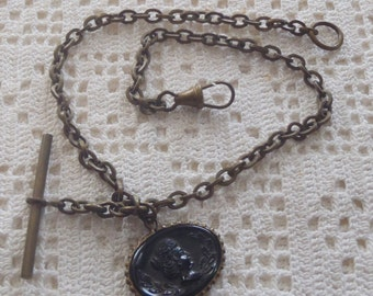 Vintage Watch Chain Oval Carved Black Fob