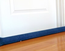 Door draft snake, custom length, draft stopper, unfilled, extra long snake, faded denim, heavy weight blue jean fabric
