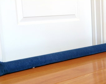 Door draft snake, custom length, draft stopper, unfilled, extra long door draft stopper, faded denim, heavy weight blue jean fabric