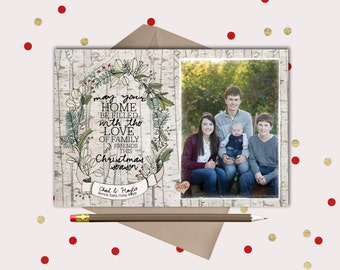 May Your Home be Filled with Love · Birch Botanical Christmas Photo Cards · printable holiday cards