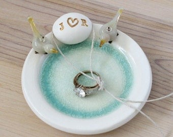 Personalized ring bearer dish, ring bearer pillow alternative, birds ring bearer pillow