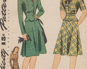 Simplicity 4491 / Vintage 40s Sewing Pattern / Skirt Jacket Suit / Size 16 Bust 34
