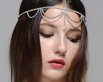 Bridal Wedding Bohemian Rhinestone Headband Head Piece Forehead Headdress Head Chain Headchain
