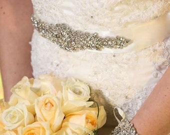 Zina Wedding Bridal Beaded Jeweled Crystal Belt Sash Embellishment