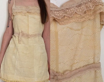 Handmade Lacey Distressed RAW Silk Slip Mini Dress Hand Printed Hand Sewn One of a kind Goldenrod Snakeskin Sheer