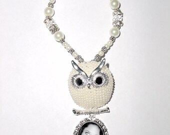 Wedding Bouquet Memorial Photo Metal Charm Silver Owl White Pearls Crystal Gems Tibetan Beads - FREE SHIPPING