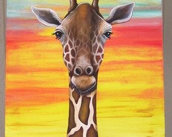 Giraffe at Sunset 18 x 24 Acrylic on Canvas ( Custom Order Only)