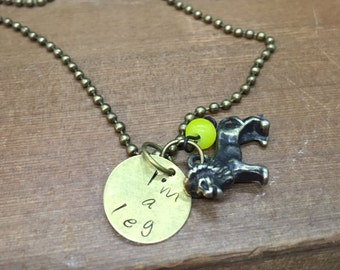 Hunk Voltron Legendary Defender Inspired Hand Stamped Pendant Yellow Paladin